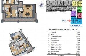 Trosoban stan u ul. Bulevar vojvode Stepe Stepanovića , Starčevica, Banja Luka
